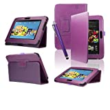 SAVFY� Kindle Fire HD Stand Leather Case Cover Multi-Function Flip Pouch with Auto Wake and Sleep, includes Bonus: Screen Protector and Touch Stylus Pen - Multi-Colours Available (Flip, Purple)by SAVFY