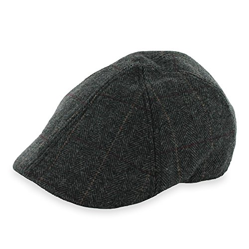 Hats in the Belfry Belfry Headliner Plaid and Herringbone duckbill IVY Pub Cap (Large, Brown) (Duckbill Cap)