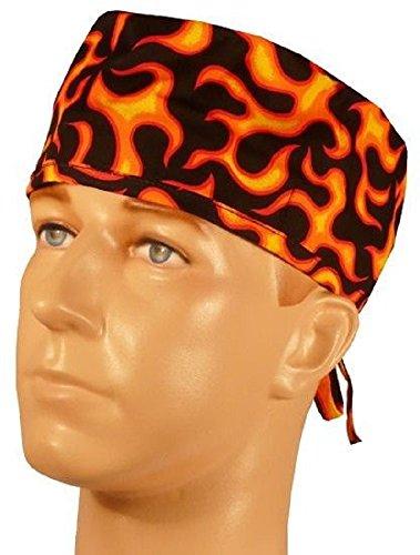 - USA Made Black Orange Flames Medical Scrub Cap Sweatband Adjustable Ties Doctor Nurse Vet Aid Dentist
