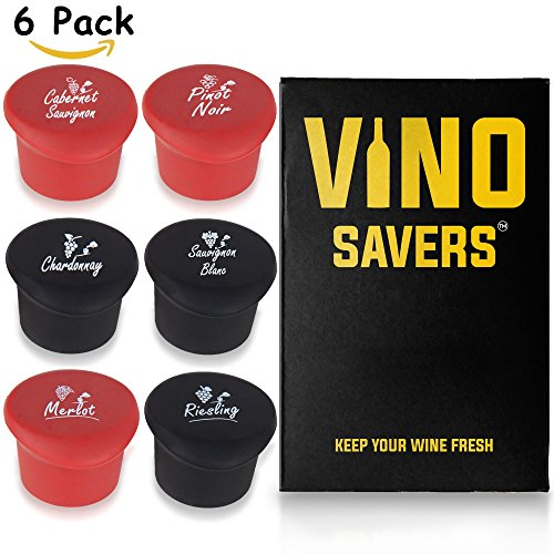 Wine Stoppers (Set of 6) - Perfect Gift Box for Real Wine Lovers. Keep Leftover Wine Fresh with Reusable Silicone Caps Named for your Favorite Wines