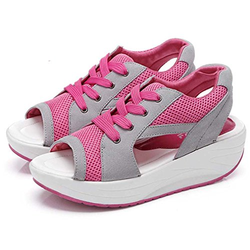 Chaussures Respirant Sneaker Course Peep Rosa Rouge Solshine Toe De Mesh 1w4axqnR