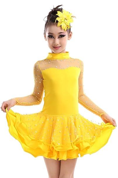 09375f29f KINDOYO Niñas Latino Vestido de Baile Tutú Infantil para Lentejuelas Latina  Traje De La Danza  Amazon.es  Ropa y accesorios