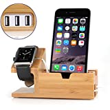 Bamboo Wood iPhone Charging Dock Charger Stand for iwatch Monyue Compatible for Apple Watch Charging Station