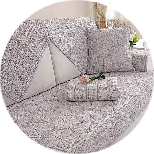 Double-Sided Cotton Sofa Covers Cushion Four Seasons Sofa Towel Modern Simple Living Room Corner Couch Cover Armrest Towel,D,70x210cm ()