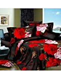 ZQ Fashion personality style Duvet Cover Set,4 Piece Suit Comfort Simple Modern Ventilation Printed 3D Rose Pattern Full