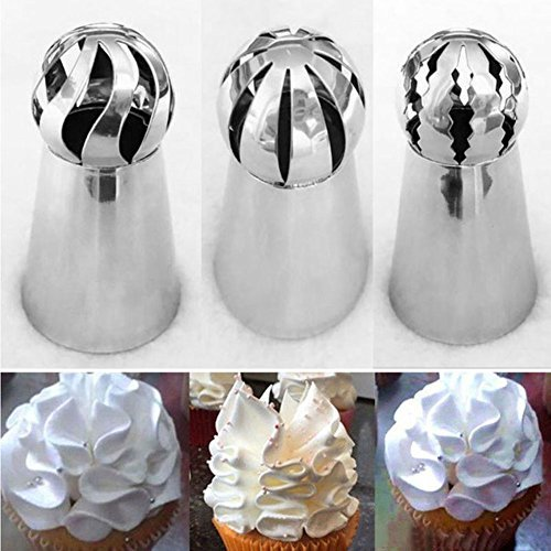 9Snail 3 pcs Cake Decorating Supplies New Sphere Ball Tips Russian Icing Piping Nozzles Tips Pastry Cupcake