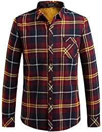 "<span class=""a-offscreen"">[Sponsored]</span>Men's Fleece Lining Checkered Slim Fit Casual Thermal Flannel Shirt"