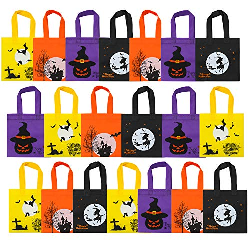 Elcoho 20 Packs Halloween Non-Woven Bags Trick or Treat Gift Bags Party Goodie Tote Bags Treat Bag with Handles Party Favors, 8 by 8 Inches, 4 Colors -