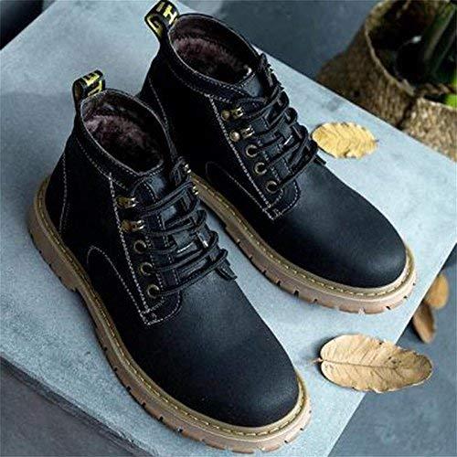 Willsego Winter Plus Fett XL männlich Kunstleder Stiefel Reißverschluss Schuhe (Farbe   36, Größe   Schwarz)