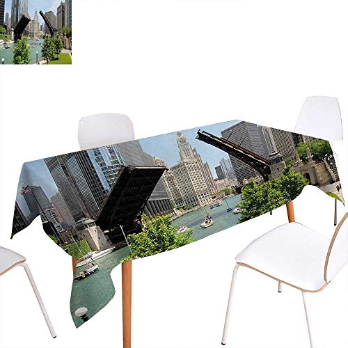 Warm Family United States Printed Tablecloth Downtown Chicago Illinois Finance Business Center Lake Michigan Avenue Bridge Rectangle Tablecloth 54