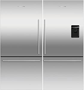 Fisher Paykel Stainless Steel Refrigerator Freezer Combo, Models RF170WDRUX5N & RF170WDLX5N, Includes Joiner Kit, Adjustable Shelves, Door Alarm, External Water Dispenser