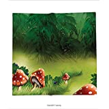 Custom printed Throw Blanket with Mushroom Decor Fly Agarics Magical Wonderland Lawn Meadow Scenery Greenwood Design Super soft and Cozy Fleece Blanket
