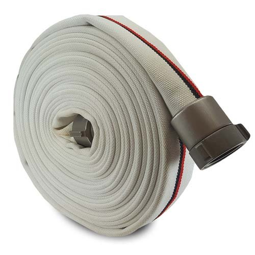 White 2'' x 50' Double Jacket Mill Hose with Aluminum NPSH Couplings