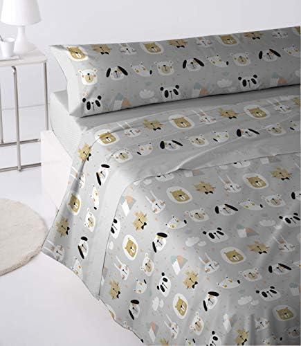 Cabetex Home - Juego de sábanas Infantiles - 3 Piezas - polialgodón - Animals (Gris, 105_x_190/200 cm): Amazon.es: Hogar