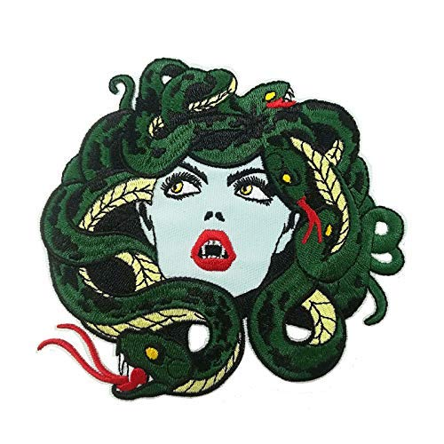 Medusa Embroidered Iron on sew on Patch for Jackets (Back Snake Patch)