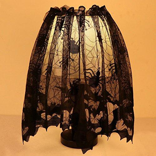 Hixixi Black Lace Spider Web Bat Window Toppers Door Curtain Halloween Party Decoration (20