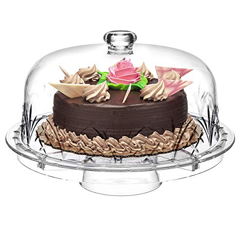 Godinger 6 in 1 Cake Stand and Serving Plate Platter with Dome Cover, Multi-Purpose Use, Shatterproof and Reusable Acrylic - Dublin Collection (Cakes Plates For)