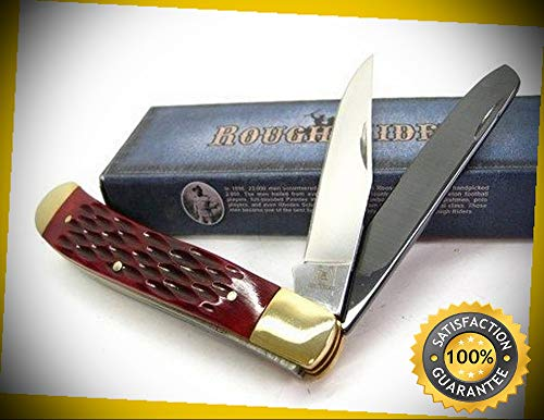 Aztec Trapper - Red Jigged Bone Trapper Ceramic Spey Blade Folding Sharp Knife 1368 perfect for outdoor camping hunting