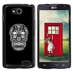 MobileHut / LG OPTIMUS L90 / D415 / Black White Skull Death Pattern / Delgado Negro Plástico caso cubierta Shell Armor Funda Case Cover