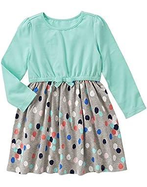 Baby Girls' Mint Mixed Print Knit Dress
