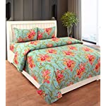 RD TREND Cotton Double Bedsheet with 2 Pillow Cover,Green