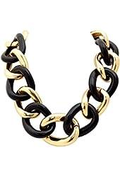 Belle Noel Gold Color Plated Midnight Link Necklace in Black Resin