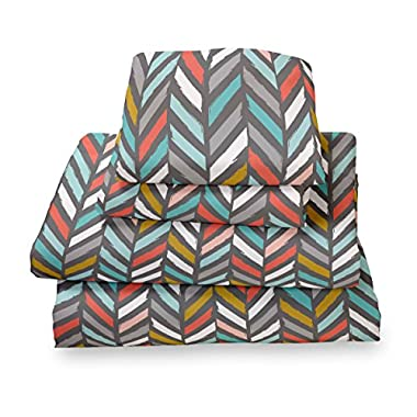 King Sheet Set Multi Color Herringbone - Double Brushed Ultra Microfiber Luxury Bedding Set By Where the Polka Dots Roam