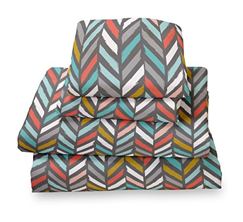 Full Sheet Set Multicolor Herringbone - Double Brushed Ultra Microfiber Luxury Bedding Set By Where the Polka Dots Roam