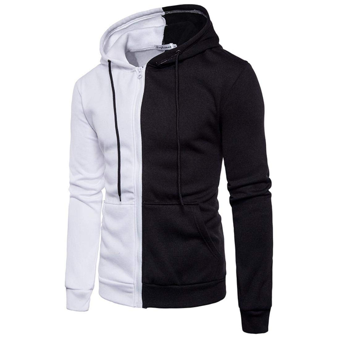 ab3c84ae503c21 ... TIFIY Herren Langarm Hoodie Nähte Reißverschluss Sport Mantel Moderne  Freizeit Jacke Outwear Sweatshirt Tops TIFIY- ...