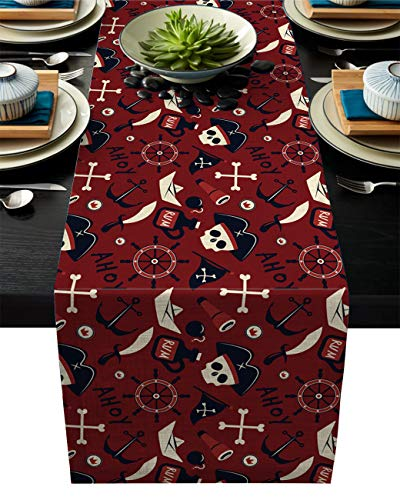 Linen Burlap Table Runner, 16x72 Inch Farmhouse Table Runners for Summer Parties, Dining Room, Home Kitchen, Wedding Decorations - Machine Washable, Ahoy Pirate Captain Skull Anchor Rudder Rum Red