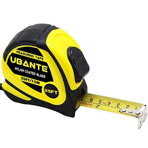 UBANTE Measuring Tape Measure 1-Inch x 25FT(7.5m) Retractable Heavy Duty with Magnetic Hook, Metric and Inches Measurement - Professional Measurement Tape for Construction, Contractor and DIY-Yellow Professional 25' Tape Measure