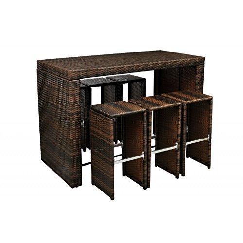 Anself 7pcs Poly Rattan Garden Bar Set Patio Outdoor Backyard Table with 6 Stools, Brown price