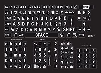photograph relating to Printable Keyboard Stickers named Significant print keyboard stickers - white upon black