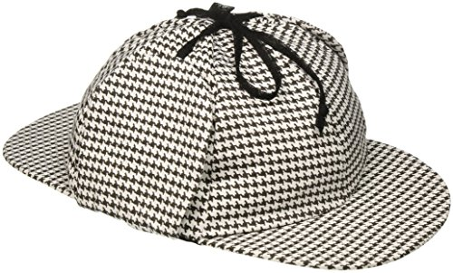 Jacobson Hat Company Men's Sherlock Holmes Cotton Cap, Black/White, Adult