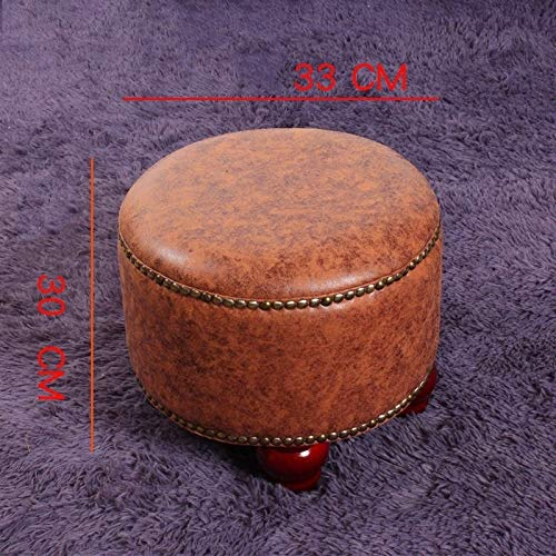 QYLOZ Reading Stool Round Bronze Soft and Stable with Stool Legs - Multi-Color Optional (33 × 30 cm) (Color : Brass)