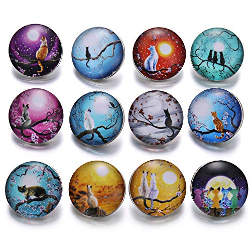 Glass Cat Charm - Lovglisten 12pcs 20mm Cat Style Mixed Glass Printed Snap Button Chunk Jewelry Charms (cat-2)