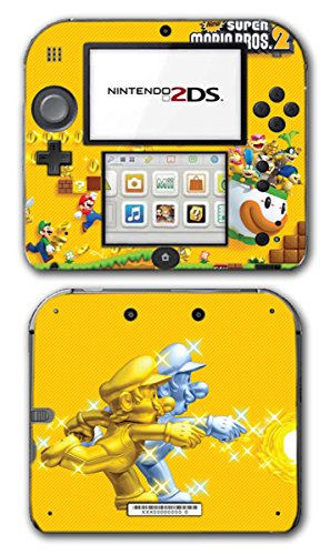 Ds Bros New Nintendo Super Mario Lite (New Super Mario Bros 2 Gold Coins Mushroom Powerup Flower Video Game Vinyl Decal Skin Sticker Cover for Nintendo 2DS System Console)