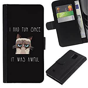 Planetar® Colorful Pattern Flip Wallet Leather Holster Protective Skin Case Cover For Samsung Galaxy Note 4 IV / SM-N910 ( I Had Fun Once Angry Cat )
