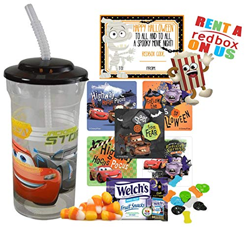 Cars Lightning McQueen Halloween Redbox Movie Night Fun Sip Favor Cup! Pre-Filled & Ready For Giving! Includes Keepsake Tumbler, Redbox Rental, Popcorn, Candy & Favors!]()