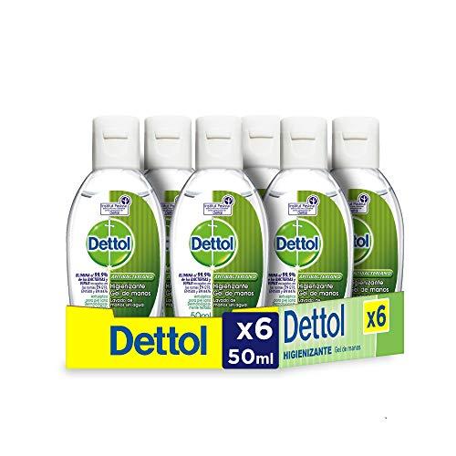 🥇 Dettol – Gel hidroalcoholico higienizante de manos – 50 ml x 6