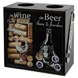 Lily's Home Wine Cork and Beer Cap Holder, Wooden Wine Cork and Beer Caps Shadow Box with Beer Cap Opener, Black (8 3/4' x 4 1/2' x 8 3/4')