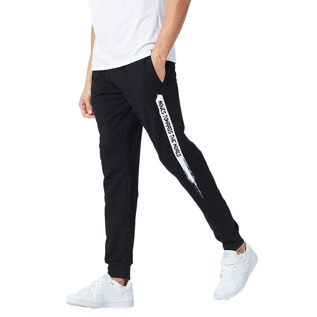 Realdo Clearance Mens Casual Slim Personality Solid Elastic Letter Sports Run Jogger Pants Trousers(Medium,Black)