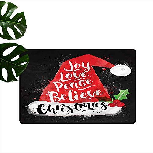 HOMEDD Crystal Velvet Doormat,Santa Xmas Hat with Lettering,Rustic Home Decor,31