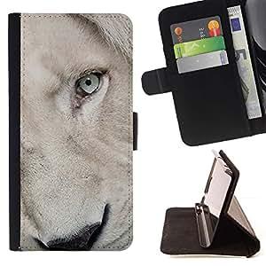 Momo Phone Case / Flip Funda de Cuero Case Cover - Hocico Lion Cub perrito blanco de los ojos - Samsung Galaxy S5 V SM-G900