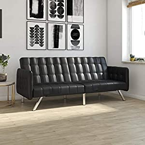 DHP 2175009 Emily Sofa Sleeper, Black Faux Leather