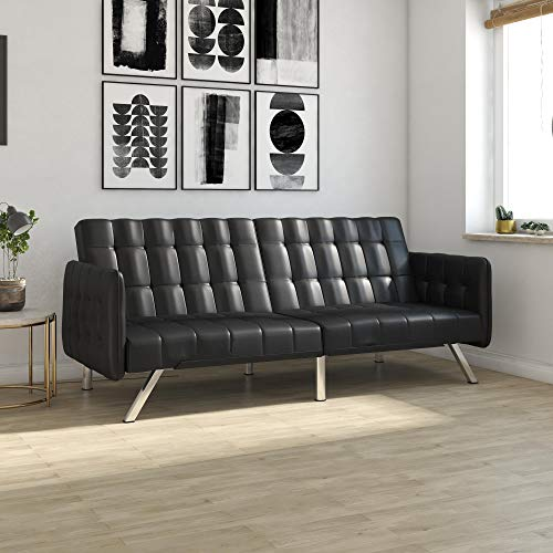 Arm Bed Sofa (DHP Emily Convertible Futon and Sofa Sleeper, Modern Style with Tufted Cushion, Arm Rests and Chrome Legs, Quickly Converts into a Bed - Black Faux Leather)