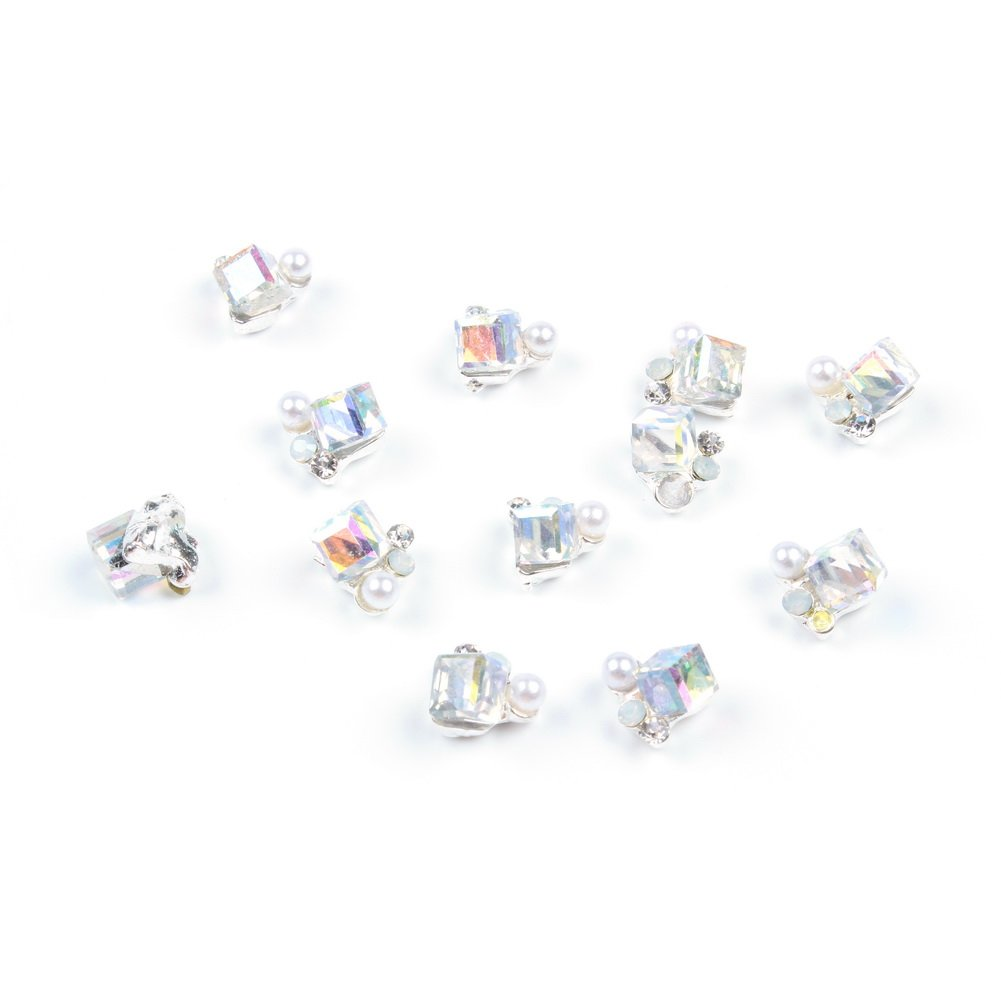 So Beauty 10 Pieces 3D Square Rhinestone with Artificial Pearl Nail Art Slices Glitters DIY Decorations