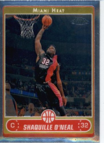 2006 Topps Chrome Card (2006 07 Topps Chrome Basketball Card #25 Shaquille O'Neal Miami Heat)