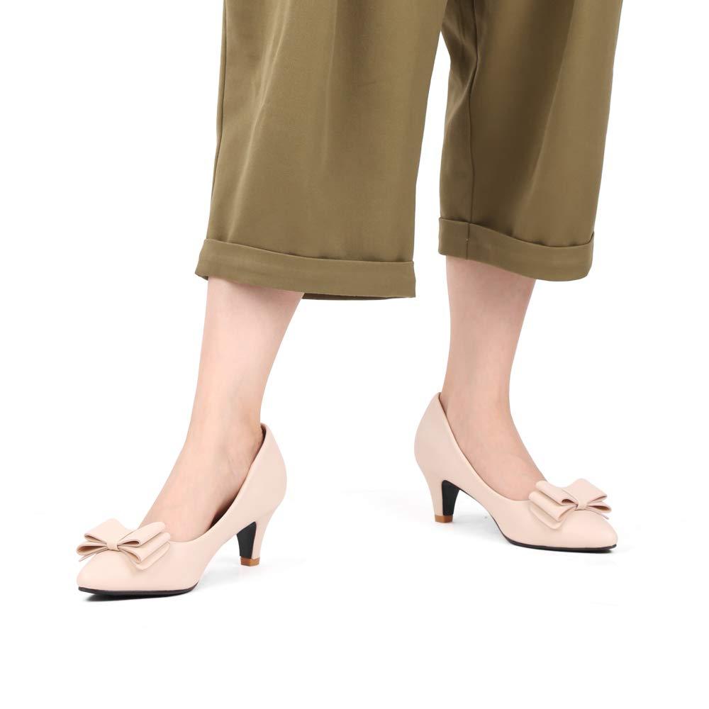 Sydowey Mujeres Oficina Bomba de tac/ón de Gatito bajo Punta Estrecha y Puntiaguda Bowknot Vestido Zapatos de tac/ón Medio