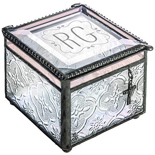 J Devlin Box 631 EB 212-2 Monogrammed Stained Glass Personalized Keepsake Jewelry Box with Cross - Trinket Charm Initial